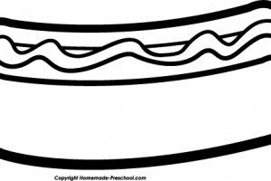 hotdog clipart black and white 1