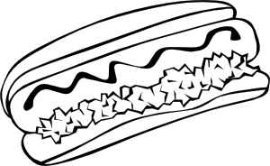 hotdog clipart black and white 3