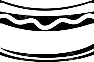 hotdog clipart black and white 4