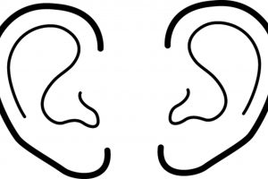 Two ears clipart black and white