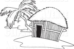 hut clipart black and white 5