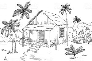 hut clipart black and white 6
