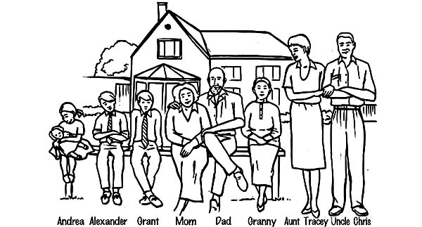 coloring pages of extended family - photo#8