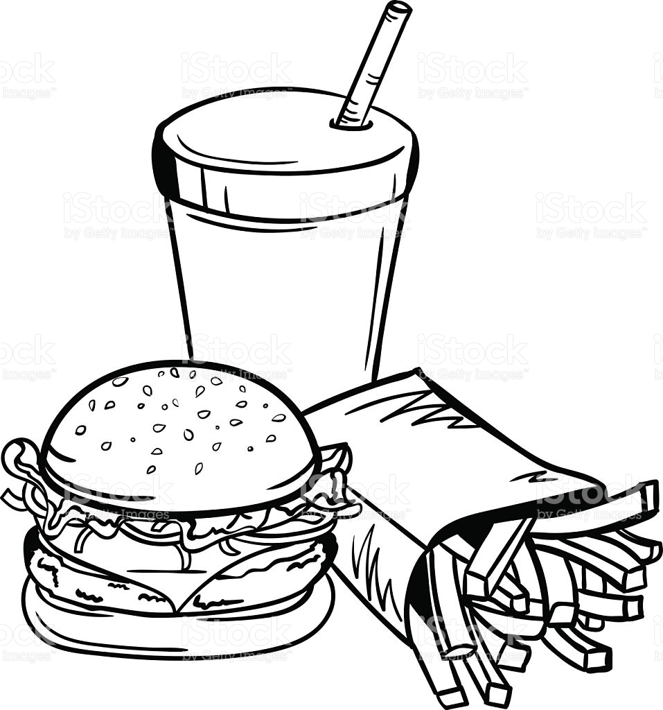 Kleurplaat Frites Junk Food Clipart Black And White 6 187 Clipart Station