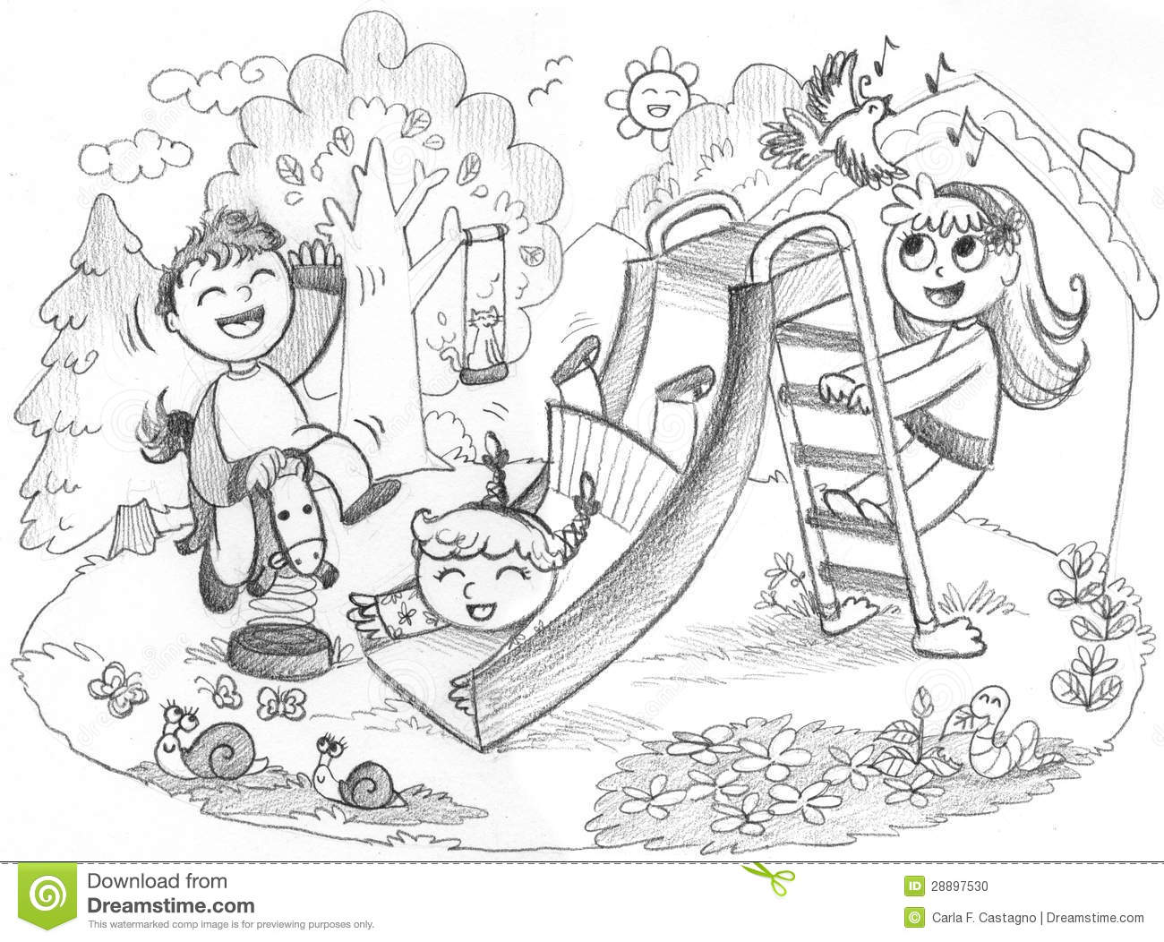 kids on playground clipart black and white » clipart station
