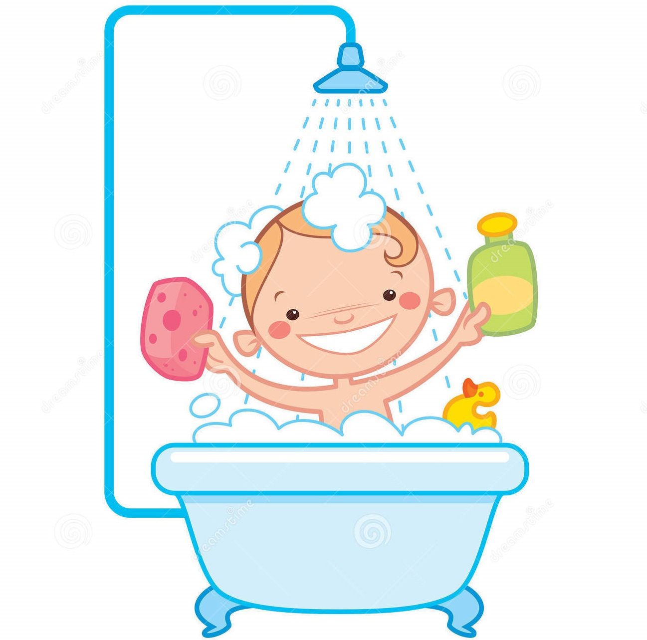 Little child boy character take a shower. Daily routine ... |Take A Shower Clipart