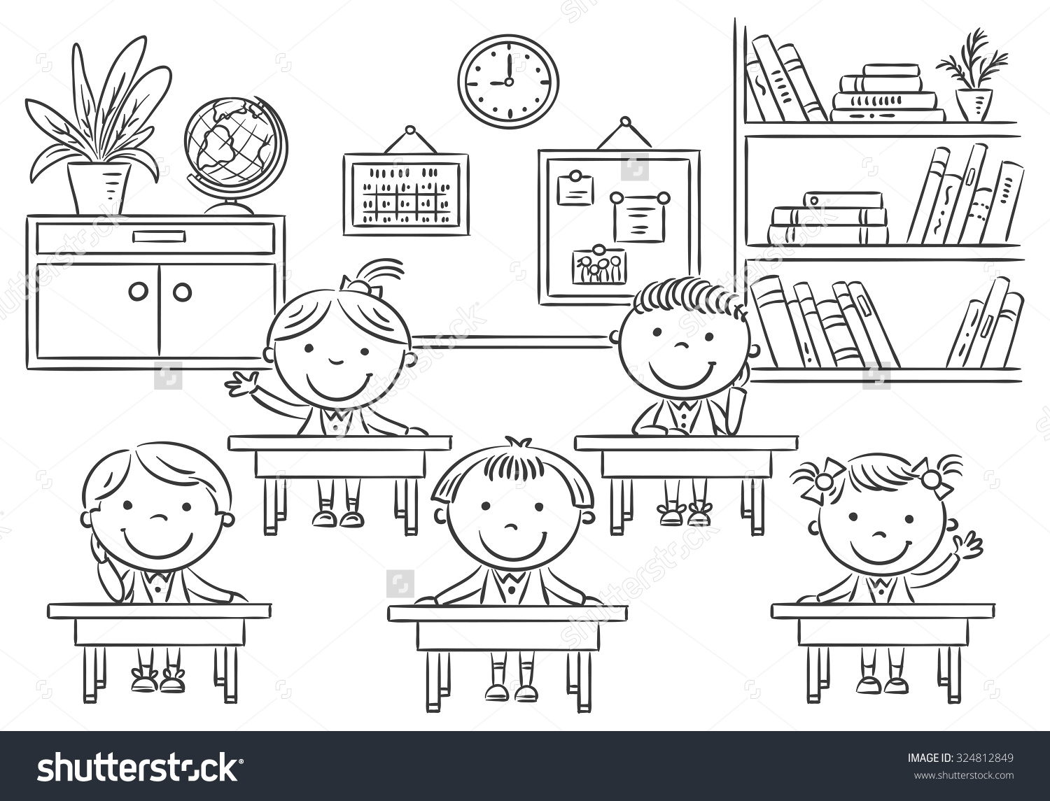 kindergarten classroom clipart black and white 8 » clipart station