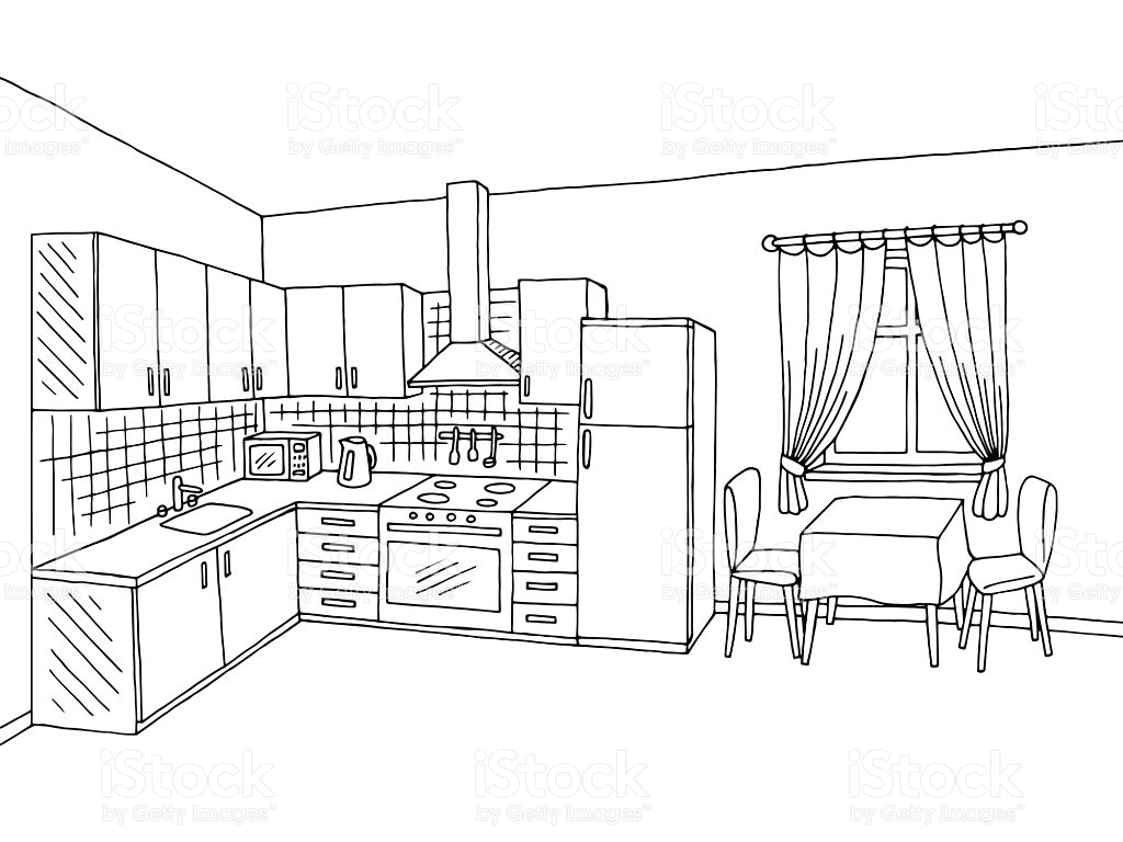 Black And White Line Pictures Kitchen