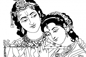 krishna clipart black and white
