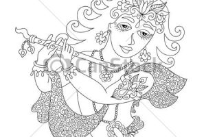 krishna clipart black and white 12
