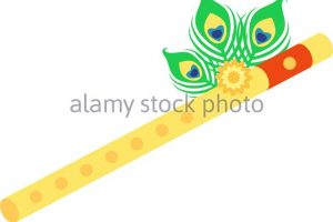 krishna flute clipart black and white 10