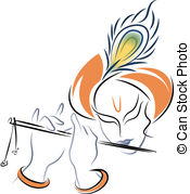 krishna flute clipart black and white 12