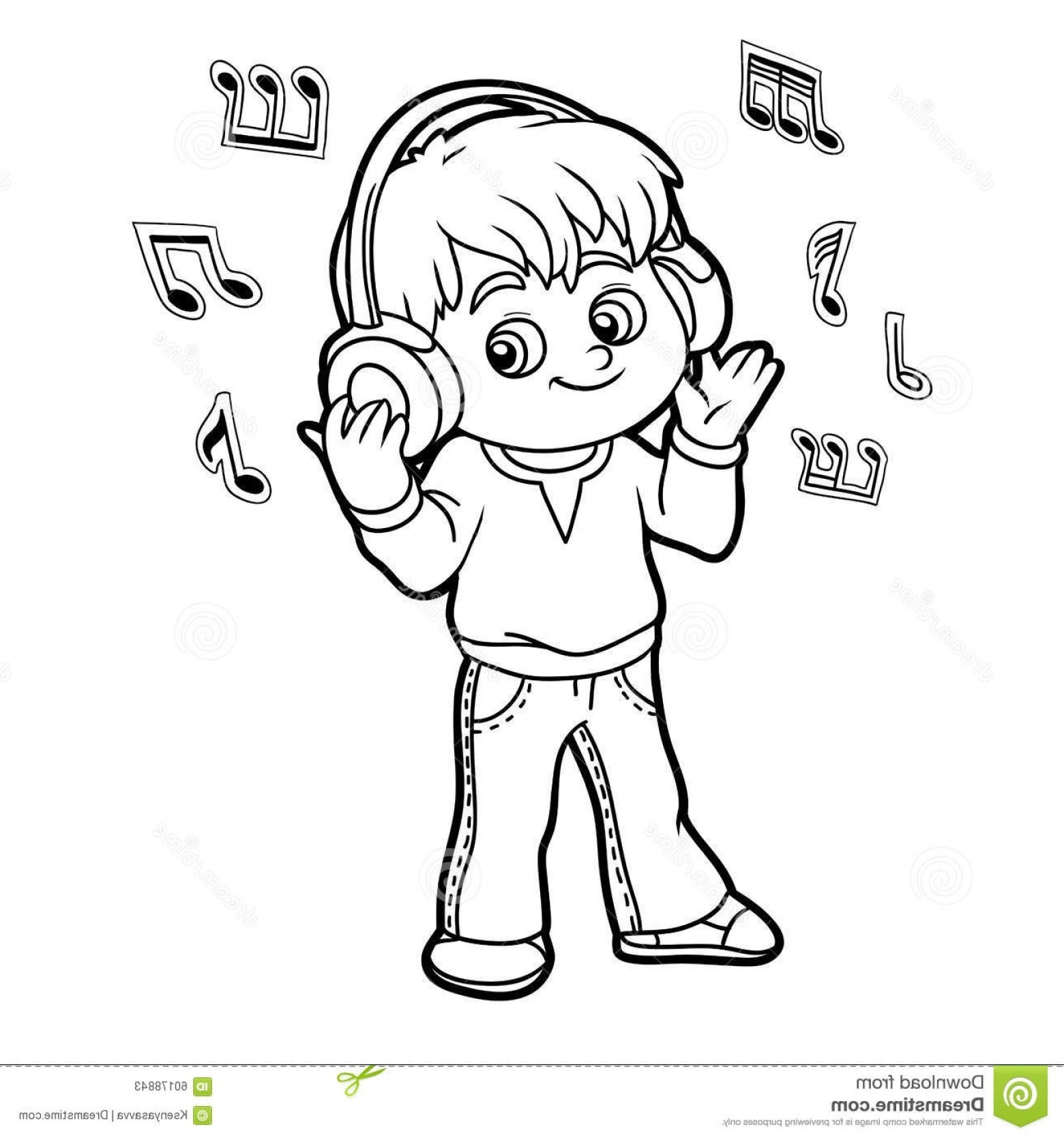 listening to music clipart black and white » clipart station
