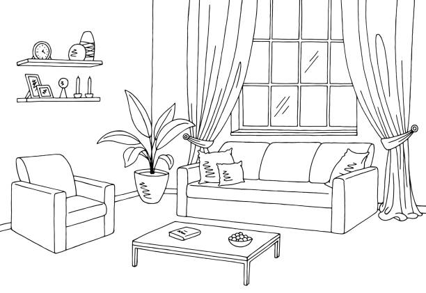 Living room clipart black and white 1 » Clipart Station
