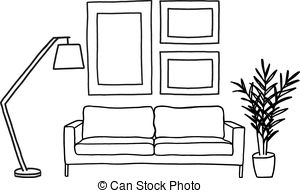 Living room clipart black and white 6 » Clipart Station