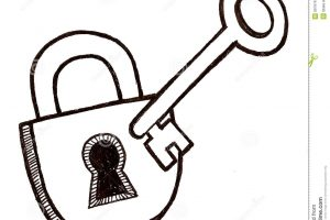 lock clipart black and white 5