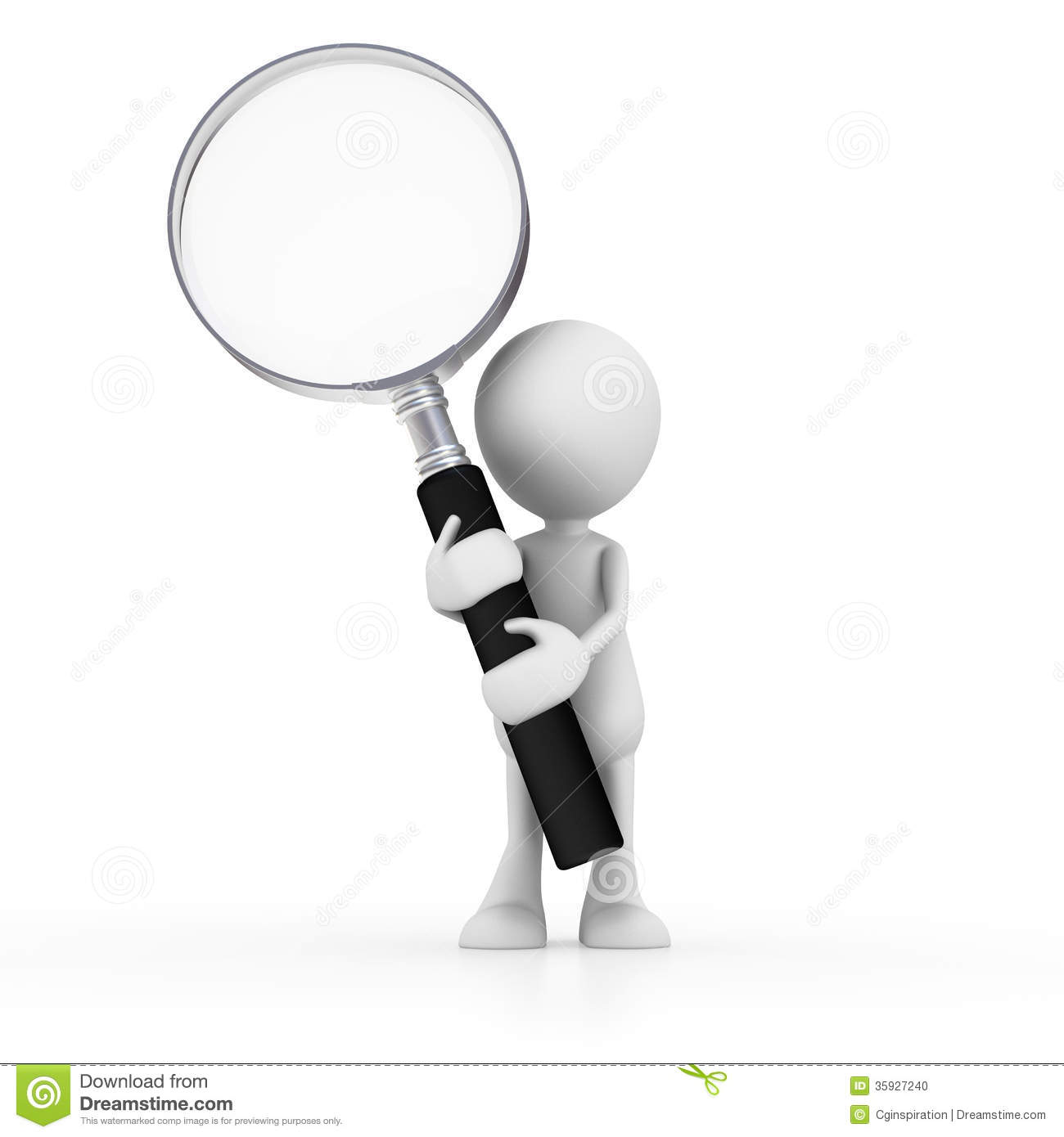 Magnifying glass man. Clipart person station