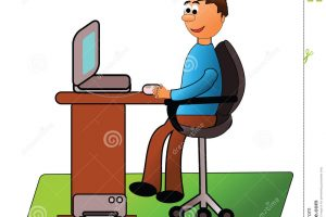 man working on computer clipart 1