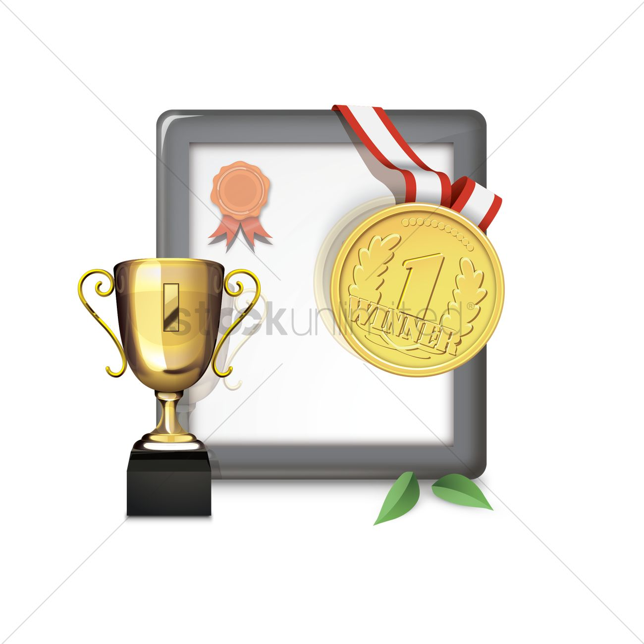 Certificate trophy. Medal and clipart station