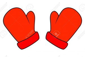 Christmas mittens, cartoon gloves design, icon, symbol. Winter vector illustration isolated on white background.