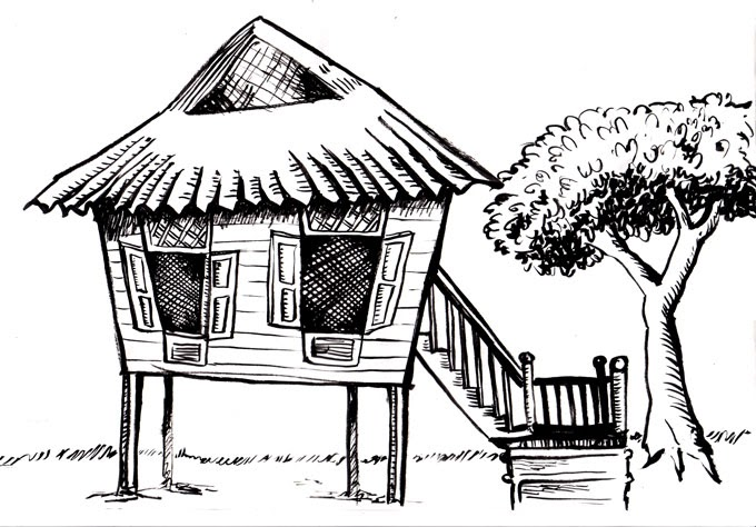 Nipa Hut Clipart Black And White 3 187 Clipart Station