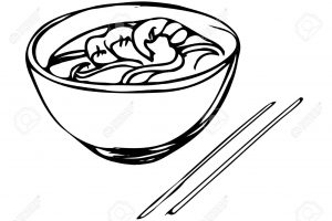 vector sketch of Chinese noodles with shrimp and chopsticks
