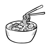 noodles clipart black and white 8