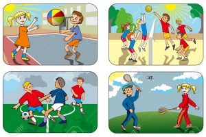 outdoor games for kids clipart 6