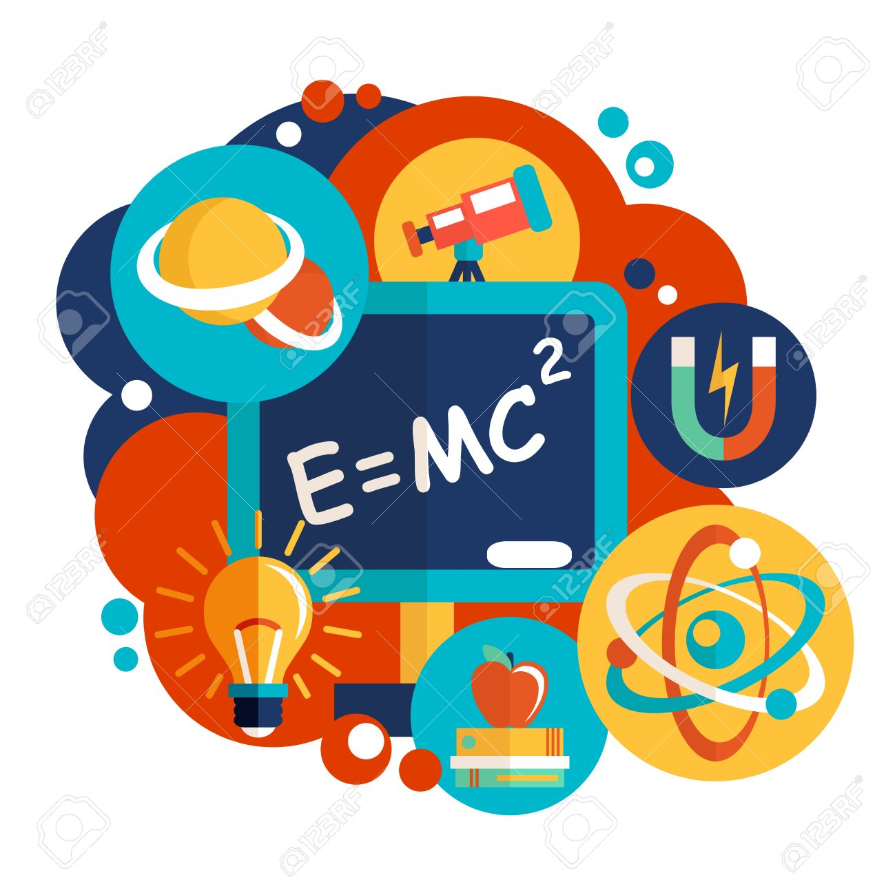 Physics science flat design clipart station for Physics planning and design experiments