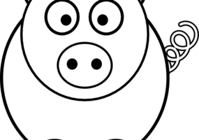 pig black and white clipart 1