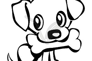 puppy clipart black and white 3