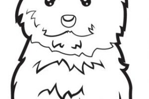 puppy clipart black and white 6