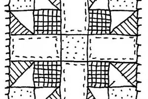 quilt clipart black and white 7