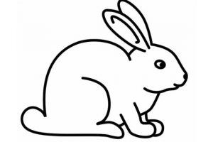 rabbit black and white clipart 2