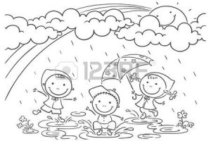 rainy day clipart black and white 2