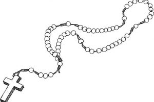 rosary clipart black and white