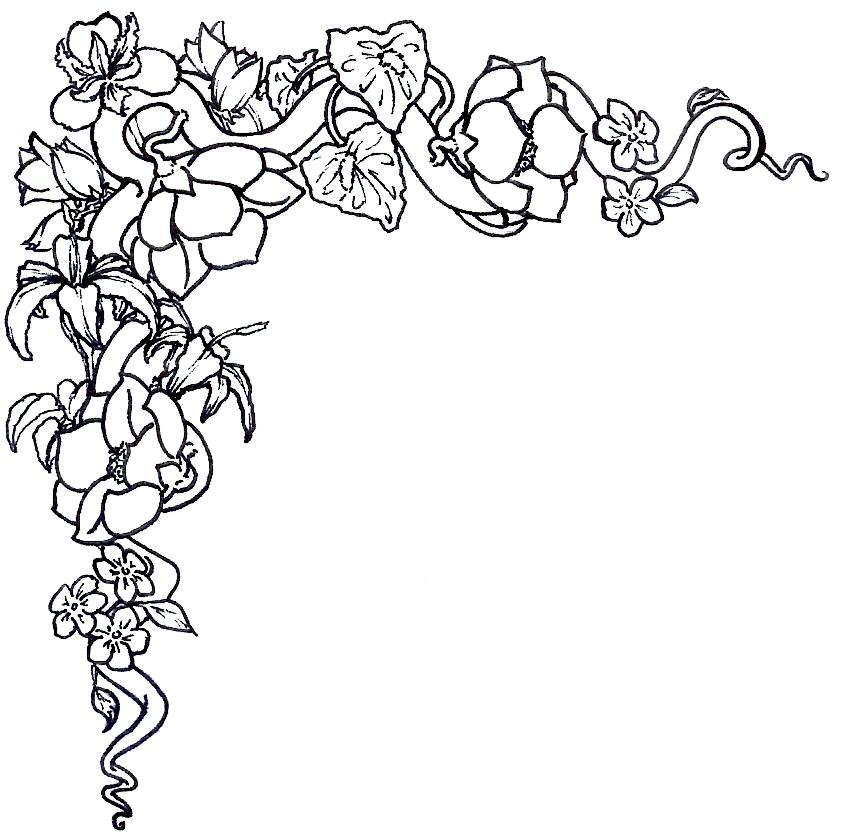 Black To Black Flowers 4: Rose Border Clipart Black And White 4 » Clipart Station