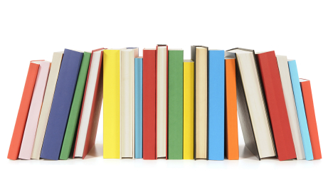 Row of colorful paperback books » Clipart Station