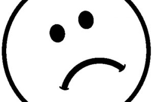 sad face clipart black and white