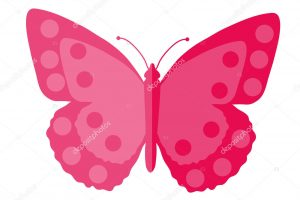 Pink Butterfly, flat design. Isolated on white background. Vector illustration, clip art.