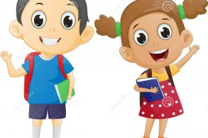 school boy and girl clipart