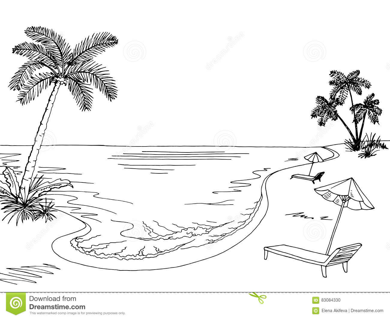 Vector Drawing Lines Worksheet : Sea clipart black and white station