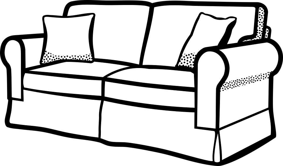 Sofa clipart black and white 7 » Clipart Station