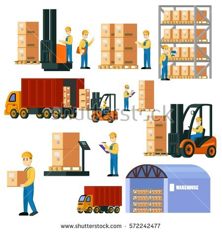 Delivery and storage warehouse design Clipart | k36982615 | Fotosearch