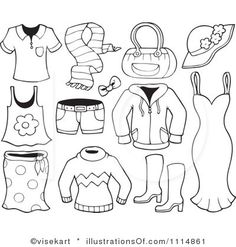 Summer clothes clipart black and white 5 » Clipart Station