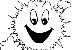 sunny clipart black and white 2