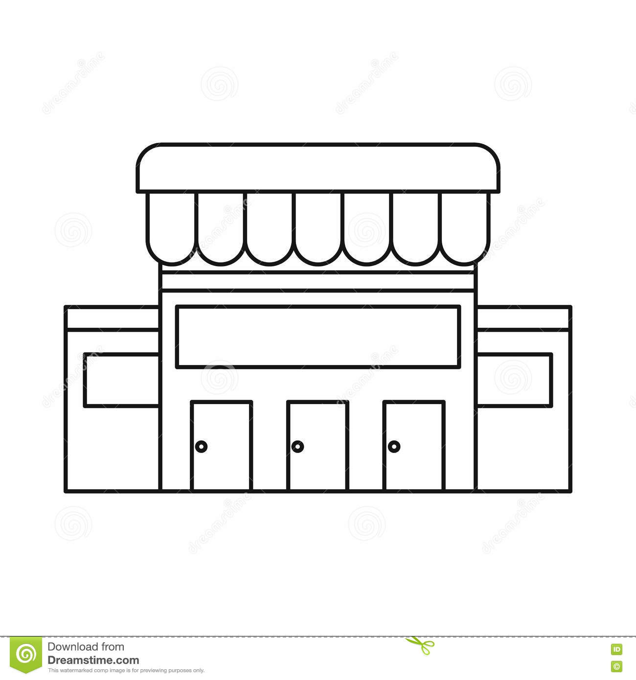 supermarket building clipart black and white how to