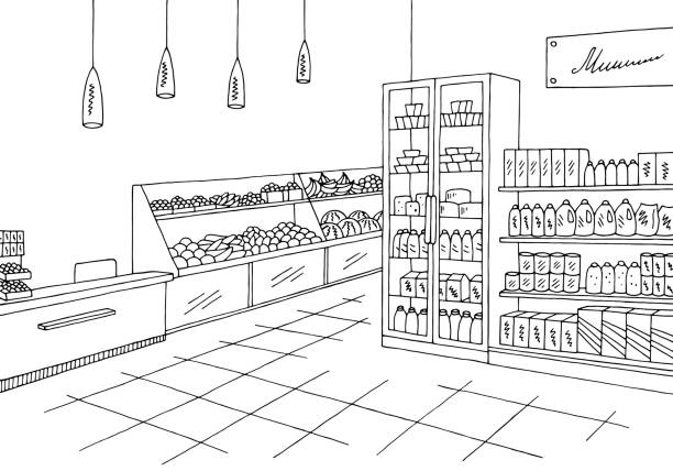 Supermarket clipart black and white 2 » Clipart Station