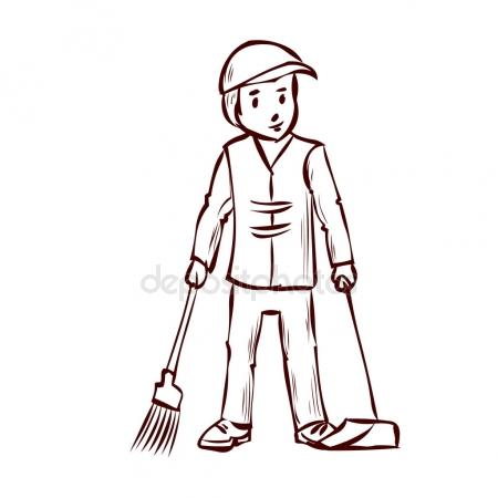 Sweeper clipart black and white 9 » Clipart Station