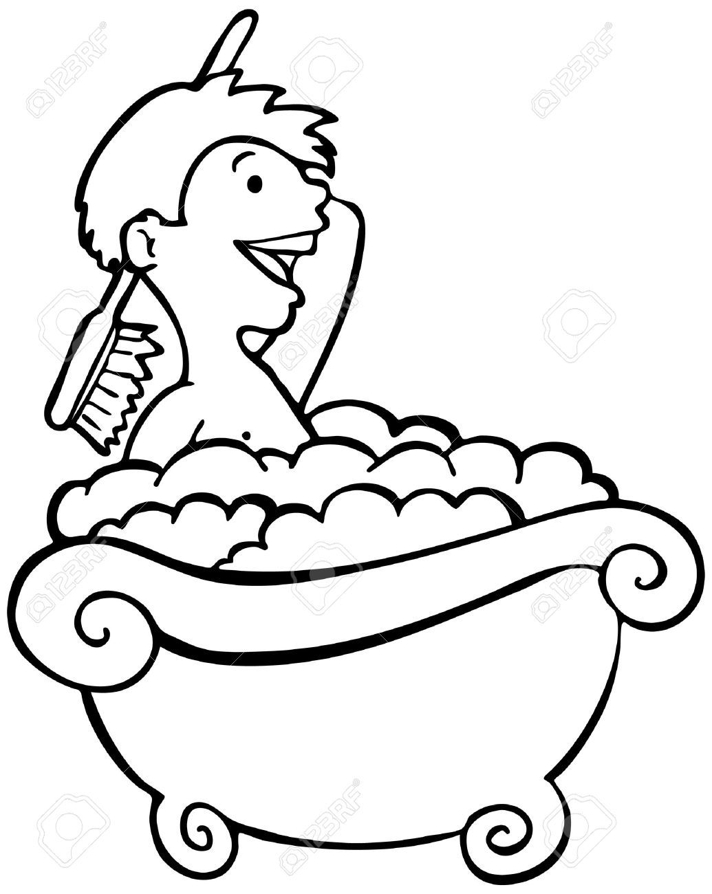 Line Art Quizlet : Taking a bath clipart black and white station